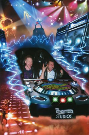 Lord Of Amour Fantastique and friend on Rock 'n' Roller Coaster starring Aerosmith at Disneyland Resort Paris