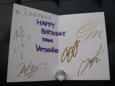 Versailles Philharmonic Quintet: Signed Birthday Card - inside