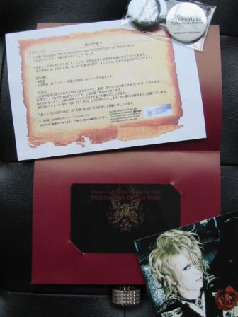 Versailles Philharmonic Quintet : DESCENDANT OF THE ROSE World Fan Club : June 2010 CERTIFICATE OF MEMBERSHIP - inside